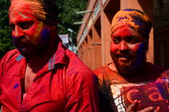 Coloured faces during Holi celebration. Jaipur. Rajasthan. India Stock Images