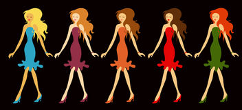 Coloured fashion. Five beauties with a different colors of dress Royalty Free Stock Images