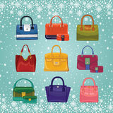 Coloured fashion women's handbags.Winter Royalty Free Stock Images