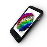 Coloured fingerprint on a Mobile. 3d fingerprint representation for authentication Stock Image