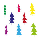 Coloured fir-trees. Different fir-trees funny bright colors Royalty Free Stock Photos