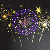 Coloured firework isolated on transparent background. Vector illustration Stock Photo