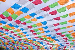 Coloured flags. The background of many coloured flags under the sky royalty free stock images