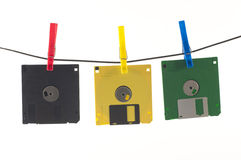 Coloured floppy disks Stock Photo