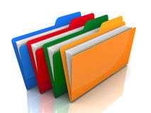 Coloured folders isolated 3d illustration. Coloured folders 3d illustration isolated on white background Stock Photo