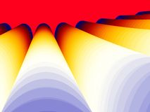 Coloured fractal tubes. Coloured computer generated tubes on red background Stock Photo