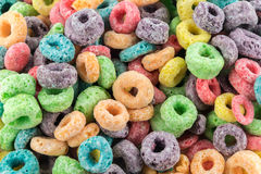 Coloured Fruit Loop cereal. Coloured Fruit Loop breakfast cereal background Stock Photos
