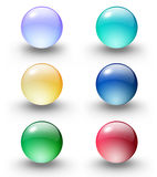 Coloured glass ball/web button. Candy coloured glossy glass spheres vector illustration