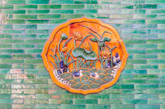 Coloured glaze the traditional painting on the wall of Beijing the imperial palace. ,In China stock photography