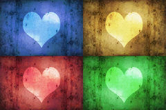 Coloured Grunge Hearts Royalty Free Stock Images