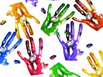 Coloured handprints Royalty Free Stock Photo
