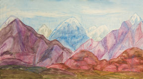 Coloured hills, painting Stock Photos