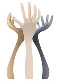 Coloured holding hands. On white background Royalty Free Stock Photo