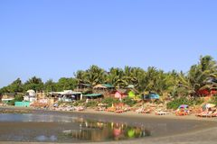 Coloured houses in Ashvem, Goa Stock Image