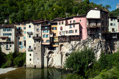 Coloured houses in Pont en Royans. Pont en royans (Alps, France): coloured houses near a river stock photography