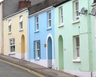 The coloured houses of Tenby. The multi-coloured houses on a residential street in Tenby Stock Photos