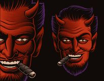 Coloured ilustracja czarcia twarz dymi cygaro royalty ilustracja
