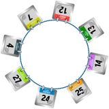 Coloured kalendarz wzywa obwieszenie w okręgu ilustracji