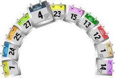 Coloured kalendarzowe strony wachlują kształt z 4th Lipem podkreślali Obrazy Stock