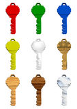 Coloured Keys. A set of 9 3D coloured keys made of different materials stock illustration