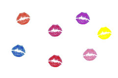 Coloured kisses royalty free stock images