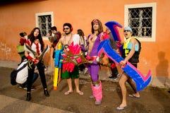 Coloured kostiumy przy Lucca komiczkami 2017 i grami obrazy royalty free
