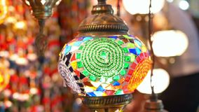 Coloured lamps interior. Coloured pendent lamps latern light stock video footage