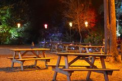 Illuminated Picnic Area. Coloured lanterns illuminate the forest and picnic area in the Electric Woods at Robin Hill on the Isle of Wight, to celebrate Diwali Stock Photos