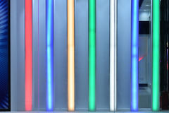 Coloured led light  wall. Coloured led light wall of  modern building at night Stock Images