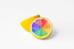 Coloured lemon royalty free stock photography