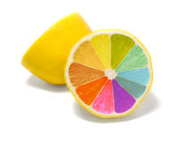 Coloured lemon. On white background - creative design stock photo