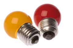 Coloured Light Bulbs Isolated Stock Photo