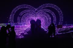 Coloured lights Lovers embrace under the heart Royalty Free Stock Photography