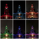 Coloured lights on Sydney Town Hall stock images