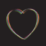 Coloured lines forming a heart on black Royalty Free Stock Photos