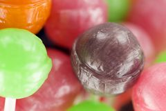 Lollipops with fruit bio. Coloured lollipops with fruit bio royalty free stock photo