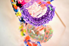 Coloured loom bands Stock Photos