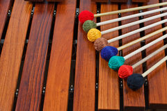 Coloured mallets on marimba. Close-up of coloured mallets on a wooden marimba Stock Photography