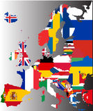 Coloured map of Europe with national flags Stock Photos