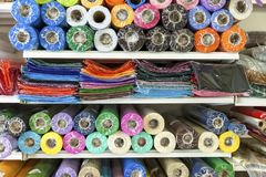 Haberdashery Coloured Material. Extreme Close-Up. Coloured materials in cellophane wrap on display. Stock Image royalty free stock photography