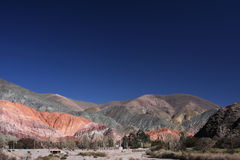 Coloured mountain in Pumamarca Stock Image