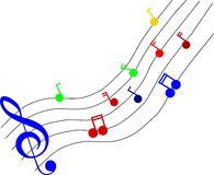 Coloured music notes Royalty Free Stock Photos