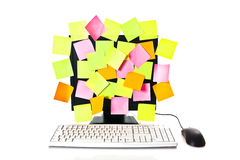 Coloured notes on the screen Stock Photography