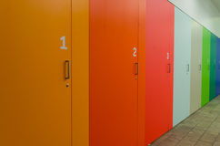 Coloured and numbered cupboards. A row of coloured and numbered cupboards royalty free stock photo