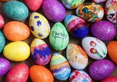 Coloured painted eggs for easter. Coloured eggs are shown ahead of Easter stock photography