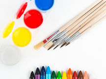 Coloured painting and watercolors. Painting set for creative people Royalty Free Stock Photography