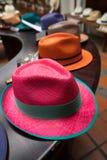 Coloured panama hats Stock Photo