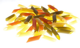 Coloured pasta. Isolated on white Royalty Free Stock Photography