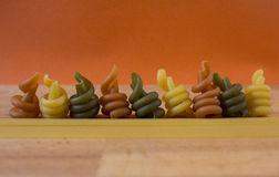 3 coloured pasta line Royalty Free Stock Images