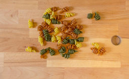 Coloured pasta. Pasta with spinach, tomato and eggs Royalty Free Stock Photos